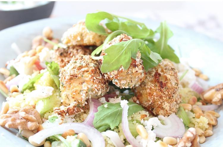 Couscous salade met krokante kip
