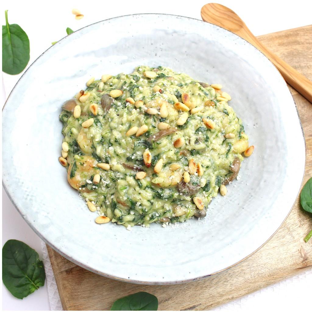 risotto met spinazie en garnalen