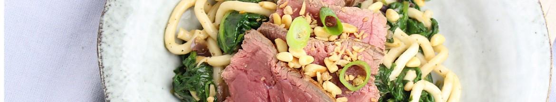 Noedels met spinazie en biefstuk!