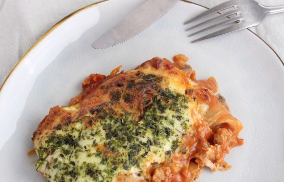 Courgette lasagne met kip