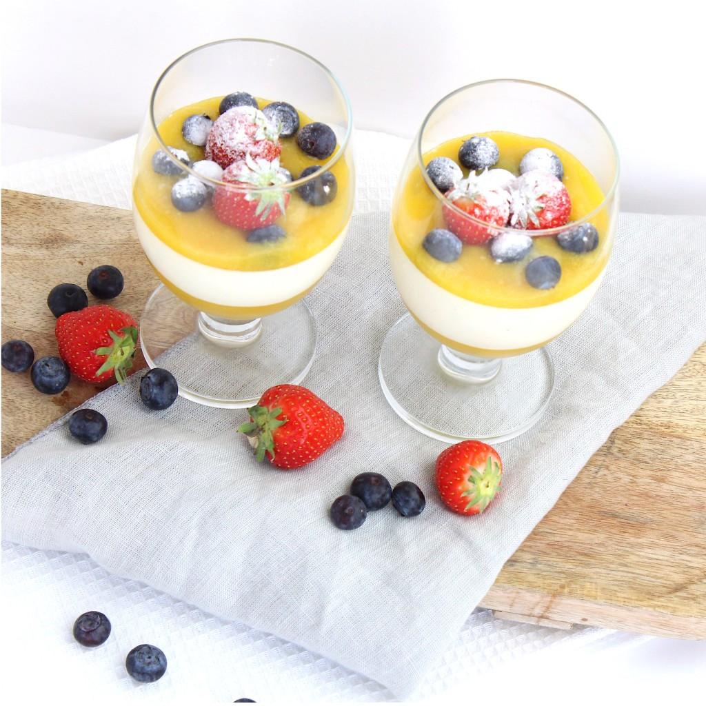 Yoghurt panna cotta met mango en rood fruit