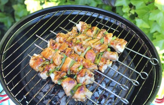 Sappige kip spiesjes van de barbecue